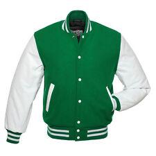 Stewart & Strauss Kelly Green Wool & White Leather Varsity Letterman Jacket New