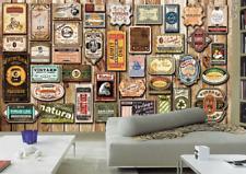 3D American Wood Badge Wall Paper Wall Print Decal Wall Deco Indoor wall Murals