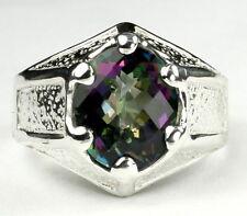 • SR234, Mystic Fire Topaz, 925 Sterling Silver Gothic Men's Ring