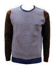 Maglia da uomo marrone blu Project girocollo manica lunga lana acrilico casual