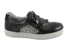 NERO GIARDINI 19520 grigio scarpe donna slip on sportive sneaker casual frangia