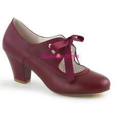 Sexy DECOLTE' tacco 6,5 dal 35 a 41 BORDEAUX fiocchetto scarpe PIN UP glamour