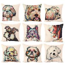 Fashion Throw Pillow Case Dog Cotton Linen Cushion Cover Square Sofa Home Decor