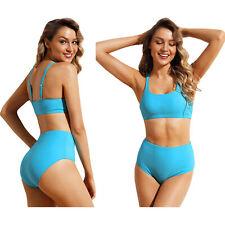9760a1a5a4 Maillot de bain taille haute 2 pièces en bikini de sport bleu uni femme