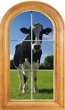 Sticker fenêtre vouté trompe l'oeil déco Vache réf 647