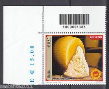 ITALIA 2011 FORMAGGI PARMIGIANO CODICE A BARRE 1386 MNH** 159 ANGOLO LEGGI TESTO