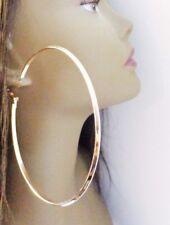LARGE HOOP EARRINGS CLASSIC HOOP EARRINGS GOLD OR SILVER TONE 3 INCH HOOP SHINY