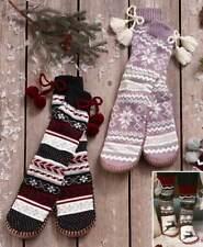 MUK LUKS LUKees Womens Slipper Socks S M L XL Snowflakes Flag Christmas Poms