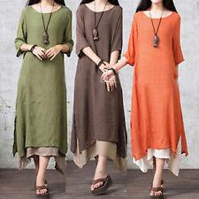 Women's Vintage Winter Long Sleeve Tunic Soild Casual Long Maxi Dress Plus Size