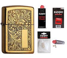 ZIPPO Feuerzeug Venetian Brass messingfarben mit oder ohne Zubehör nach Wahl NEU