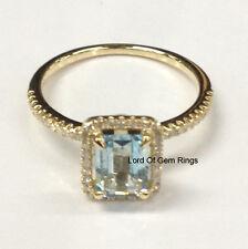Blue Aquamarine Diamond Engagement Ring,5x7mm Emerald Cut,Solid 14K Yellow Gold