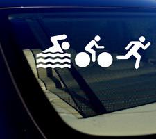 "Triathlon Swimming Biking Running Sticker Decal 8"" CHOOSE COLOR"