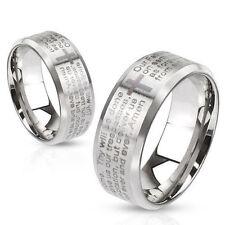 Steel Bezeled Edge Lord's Prayer Ring Size 5,6,7,8,9,10,11,12,13 (FL275)