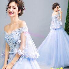 Blue Dreamlike Princess Fairy Dress Lace Floral Sleeve Evening Dress Prom Gown