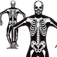 Skeleton Costume Glow in the Dark Second Skin Halloween Mens Fancy Dress New