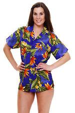 Funky Hawaiibluse Strelitzie Dunkelblau versch. Größen Hawaiishirt