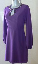 FEARNE COTTON Purple Stud Detail Long Sleeve Dress Size 8  NEW