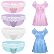 Mens Satin Lace Underwear Lingerie Dress Sissy Pouch Bikini Briefs Panties Thong