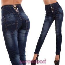 Jeans donna pantaloni vita alta aderenti corsetto skinny sigaretta nuovi A1172