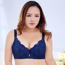 Women's Large Bosom Bra Wireless Lace Push Up Bra Plus Size To 50 C D E Cup New