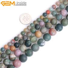 Multicolor Natural India Agate Stone Semi Precious Forested Matt Round Beads