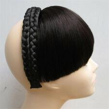 85g Full Real Human Hair Straight Braid Headband Bangs Fringe Hair Extensions