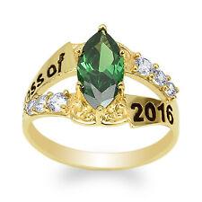 JamesJenny 10K Yellow Gold 2016 Graduation Ring Marquise Emerald CZ Size 4-9