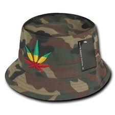 Woodland Camo Rasta Weed Leaf Pot Marijuana Fisherman's Fishing Bucket Hat Hats