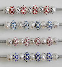 Diamantes de imitación granos mezclan Stardust & conjuntos de 4 opciones de Color para Pulsera Europea