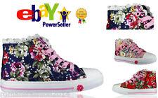 Girls Kids Flat Casual Lace Up Floral Glitter Pumps Plimsolls Canvas Shoes Size