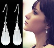 925 Sterling Silver Opal Moonstone Water Drop Teardrop Dangle Pierced Earrings