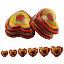 EXOTIC STRIPED WOOD HEART EAR PLUG ORGANIC STRETCHER FLESH TUNNEL PIERCING (2JB)