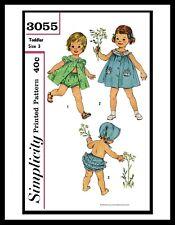 SIMPLICITY 3055 ROMPER SUNSUIT PLAYSUIT & Bonnet Sewing Pattern BABY GIRLS UPICK