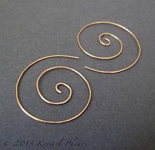 "Gold Spiral Hoop Earrings 3/4"" .75"" artisan organic yellow or rose"