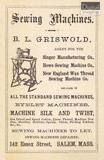 1800s Ad Reprint: B.L. Griswold Sewing Machines, Salem MA