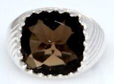 plata de ley Cuarzo Fumé Anillo Hombre Piedra preciosa 925,Talla O,7 a Z+1,13