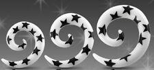 New Spiral Star Print Ear Stretcher Expander White/Black 4mm 5mm 6mm Taper