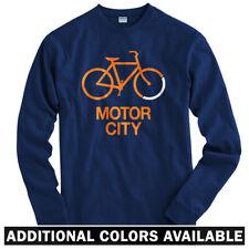 Bike Motor City Detroit Long Sleeve T-shirt LS - Bicycle Cycling - Men / Youth