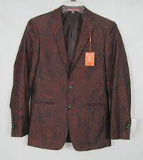 Tallia mens slim fit brick black orange paisley sport coat blazer size 36R NEW