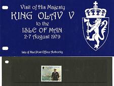 Isle of Man 1979 KING olav V visita Presentation Pack con molto belle usate TIMBRO