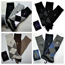 Polo Ralph Lauren 3 Pack Men's Dress Argyle Cotton Socks Black Brown Navy Gray
