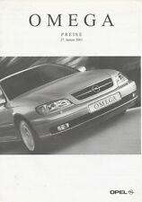 OPEL Omega listino prezzi 27.1.01 2001 Car Price List AUTO AUTOMOBILI AUTO LISTINO PREZZI