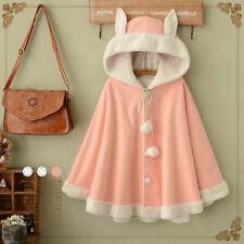 Womens Lolita Cute Rabbit Ear Fur Lining Warm Hooded Sweet Cloak Cape Shawl Coat