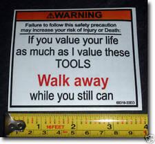 Nueva caja de herramientas caja de herramientas de advertencia a pie de la etiqueta engomada de la calcomanía Caja De Herramientas Funny