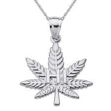 "10k White Gold Marijuana Pot Weed Cannabis Leaf ""HI"" Script Pendant Necklace"