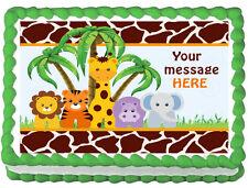 BABY ANIMALS JUNGLE SAFARI Image Edible cake topper decoration
