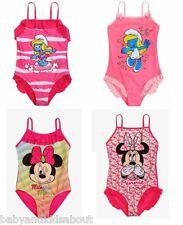 Girls Children DISNEY Minnie Mouse Smurfette Swimming Costume Swimsuit Swimwear