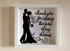 IKEA RIBBA Box Frame Personalised Vinyl Wall Art Quote Vegas Wedding name//date