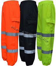 Hi Viz Combat Work Wear Jogging Bottoms Thick Brush Fleece Trouser Joggers