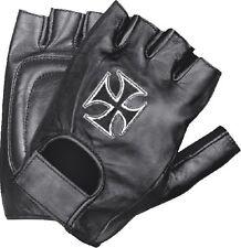 Men's Chopper Cross Embroidered Leather Fingerless Glove w/  Wrist Strap SH354
